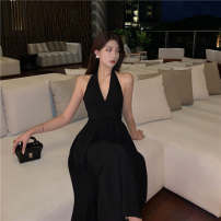 Dress Summer 2021 black S,M,L Mid length dress singleton  Sleeveless commute V-neck High waist Solid color Socket A-line skirt Hanging neck style 18-24 years old Type A Korean version Open back, lace up 51% (inclusive) - 70% (inclusive) brocade polyester fiber