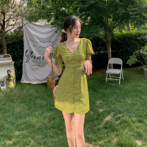 Dress Summer 2021 Picture color S,M,L,XL Short skirt singleton  Short sleeve commute square neck middle-waisted Broken flowers Socket A-line skirt puff sleeve Others 25-29 years old Type H Korean version printing 31% (inclusive) - 50% (inclusive) other polyester fiber