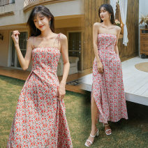 Dress Summer 2021 Picture color S,M,L longuette singleton  Sleeveless commute One word collar High waist Broken flowers Socket A-line skirt camisole 18-24 years old Type A Retro backless 31% (inclusive) - 50% (inclusive) Chiffon polyester fiber
