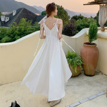 Dress Summer 2021 white S,M,L,XL longuette singleton  Sleeveless Sweet V-neck High waist Solid color Socket Big swing camisole 25-29 years old Type X Lace up, asymmetrical 81% (inclusive) - 90% (inclusive) Chiffon polyester fiber Bohemia