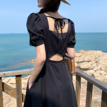Dress Summer 2021 black S,M,L,XL longuette singleton  Short sleeve commute square neck High waist Solid color Socket Big swing puff sleeve Others 25-29 years old Type A Korean version Bow, open back 51% (inclusive) - 70% (inclusive) Crepe de Chine polyester fiber