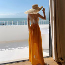Dress Summer 2021 yellow S,M,L longuette singleton  Sleeveless Sweet V-neck High waist Solid color Socket Big swing other camisole 18-24 years old Type A Bow tie, open back, lace, bandage 71% (inclusive) - 80% (inclusive) Chiffon polyester fiber Bohemia