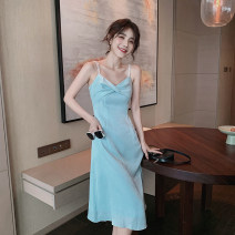 Dress Summer 2021 Light blue S,M,L,XL Middle-skirt singleton  Sleeveless commute V-neck High waist Solid color Socket A-line skirt camisole 18-24 years old Type A Korean version 51% (inclusive) - 70% (inclusive) other polyester fiber