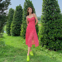 Dress Summer 2021 Mid length dress singleton  Sleeveless Sweet One word collar High waist Broken flowers Condom A-line skirt other camisole 25-29 years old Type H 3D, printing 51% (inclusive) - 70% (inclusive) Chiffon Bohemia S,M,L