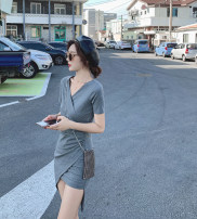 Dress Summer 2021 black S,M,L Short skirt singleton  Short sleeve commute V-neck High waist Solid color Socket Irregular skirt routine Others 18-24 years old Type A Simplicity fold 31% (inclusive) - 50% (inclusive) knitting other