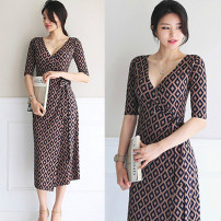 Dress Summer 2021 coffee S,M,L,XL,2XL longuette singleton  elbow sleeve commute V-neck High waist Decor other A-line skirt other Breast wrapping 25-29 years old Type A Other / other Simplicity Bow, tie, print 31% (inclusive) - 50% (inclusive) knitting other