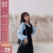 Women's large Autumn of 2019 Black spot Large L, large XL, large XXL, large XXL Dress singleton  easy moderate Long sleeves V-neck Xi tonger 18-24 years old Medium length