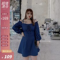 Women's large Autumn 2020 Blue spot, blue pre-sale Large L, large XL, large XXL, large XXL Dress singleton  commute easy moderate Long sleeves Solid color One word collar bishop sleeve Xi tonger 18-24 years old Short skirt