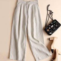 Casual pants White, black, light khaki, Dark Khaki, pink M,L,XL,2XL,3XL Ninth pants Wide leg pants High waist Other / other hemp hemp