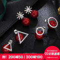 Ear Studs Synthetic cubic zirconia / water drill 101-200 yuan Stylejing / static style Red triangle 003-1 red circle 003-2 red snowflake 003-3 brand new Japan and South Korea female goods in stock Fresh out of the oven Alloy inlaid artificial gem / semi gem other B1612006 Winter 2016 no