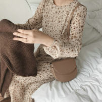 Dress Spring 2021 Apricot S,M,L,XL longuette singleton  Long sleeves commute Crew neck High waist Decor Socket A-line skirt routine Others Type A Other / other Korean version Frenulum More than 95% Chiffon other
