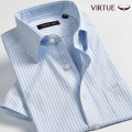 shirt Business gentleman Virtue / rich gentry routine square neck Short sleeve standard go to work summer Cotton 100% Business Casual 2016 stripe Summer 2016 cotton More than 95%