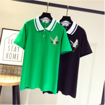 Women's large Summer 2020, spring 2020 Green, black Large XL, large XXL, large XXL, large XXXXL, large XXXXL T-shirt singleton  Sweet easy moderate Socket Short sleeve Polo collar routine cotton Love rhyme 91% (inclusive) - 95% (inclusive) Cotton 71% - 80%