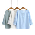 T-shirt Green, blue, white XL,2XL,3XL,4XL Spring 2021 Long sleeves Crew neck easy Regular routine commute cotton 96% and above Korean version Solid color Embroidery