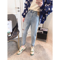 Jeans Spring 2021 blue 26,27,28,29,30,31 trousers High waist Haren pants routine 25-29 years old Worn out, multi pocket, button, zipper, worn out light colour Other / other