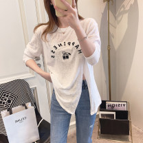T-shirt White, blue Average size Spring 2021 Long sleeves Crew neck easy Regular routine commute other 31% (inclusive) - 50% (inclusive) 25-29 years old Korean version youth Solid color Other / other Hollowing out