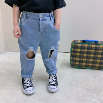trousers Other / other female 80cm,90cm,100cm,110cm,120cm,130cm Denim blue spring and autumn trousers leisure time There are models in the real shooting Jeans Leather belt middle-waisted cotton Don't open the crotch Class B Chinese Mainland Zhejiang Province Huzhou City