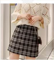 skirt Winter 2020 S,M,L,XL Black and white check, yellow check Short skirt commute High waist A-line skirt lattice Type A zipper Korean version