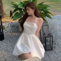 Dress Summer 2021 white S, M Short skirt singleton  Short sleeve High waist Solid color other other Hanging neck style 18-24 years old Type A Other / other Lace ZXJ5377 30% and below other other