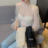 Lace / Chiffon Spring 2021 Gentle white, cream apricot, sexy black Average size Long sleeves Versatile Socket singleton  Self cultivation Super short 18-24 years old Other / other lym13278 91% (inclusive) - 95% (inclusive)