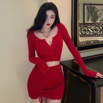 Fashion suit Summer 2021 Average size Red top, red skirt 18-25 years old Other / other ZXJ5316 30% and below