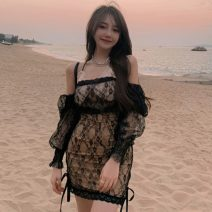 Dress Summer 2021 black Average size Short skirt singleton  Long sleeves commute V-neck High waist Solid color Socket other routine camisole 18-24 years old Type A Other / other Korean version Splicing ZXJ4787 30% and below other other