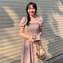 Dress Summer 2021 Blue, pink Average size Mid length dress singleton  Short sleeve commute square neck Loose waist Broken flowers other A-line skirt routine Others 18-24 years old Other / other Korean version lym14870