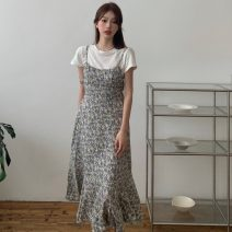 Fashion suit Summer 2021 Average size White T-shirt , Blue Floral Dress , Orange Floral Dress 18-25 years old Other / other ZXJ6039 30% and below