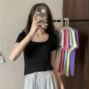 T-shirt Gray, white, black, light yellow, pink, baby blue Average size Summer 2021 Short sleeve square neck Regular routine other 51% (inclusive) - 70% (inclusive) 18-24 years old Solid color Other / other ysg8615