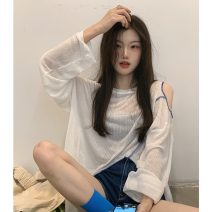 T-shirt Gray, white, purple Average size Summer 2021 Long sleeves Crew neck other 96% and above 18-24 years old Solid color Other / other ysg7595