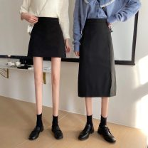 skirt Spring 2021 S,M,L Black (short), black (long) Mid length dress Versatile High waist A-line skirt Solid color Type A 18-24 years old zym14011 31% (inclusive) - 50% (inclusive) Other / other