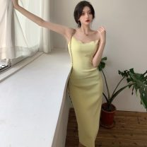 Dress Summer 2021 Green, yellow Average size Mid length dress singleton  Sleeveless other High waist Solid color Socket other other camisole 18-24 years old Type A Other / other ZXJ6322 30% and below other other