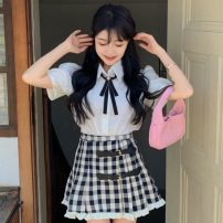 Fashion suit Summer 2021 S. M, average size White shirt, plaid skirt 18-25 years old Other / other ZXJ6220 30% and below