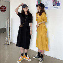 Dress Summer 2021 Yellow, black Average size Mid length dress singleton  Short sleeve commute Crew neck High waist Solid color Socket One pace skirt routine Others 18-24 years old Type H Other / other Korean version ysg8525 91% (inclusive) - 95% (inclusive) other polyester fiber