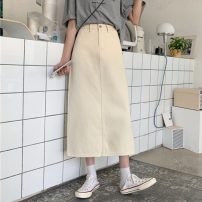 skirt Spring 2021 S,M,L white Mid length dress Versatile High waist A-line skirt Solid color Type A 18-24 years old lym14348 30% and below Denim Other / other other