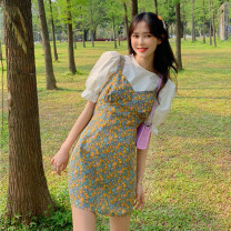 Fashion suit Summer 2021 S. M, average size Bubble sleeve top, floral suspender skirt 18-25 years old Other / other ysg7561 30% and below