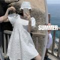 Dress Spring 2021 White dress with hat Average size Middle-skirt singleton  Short sleeve Sweet High waist Solid color Single row two buttons 18-24 years old Other / other zym13992