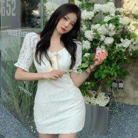 Dress Summer 2021 white S, M Short skirt singleton  Short sleeve V-neck High waist Solid color other other Others 18-24 years old Type A Other / other Lace 30% and below Lace other