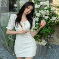 Dress Summer 2021 white S, M Short skirt singleton  Short sleeve V-neck High waist Solid color other other Others 18-24 years old Type A Other / other Lace 30% and below Lace other