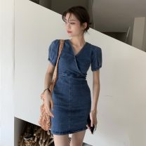 Dress Summer 2021 Graph color S, M Short skirt singleton  Short sleeve commute V-neck High waist Solid color Socket 18-24 years old Type A Other / other Korean version ysg7466 30% and below