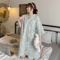 Pajamas / housewear set female Other / other Average size Decor polyester cotton Short sleeve Sweet pajamas summer routine V-neck Tether More than 95% ysg7513 Short skirt