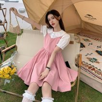 Fashion suit Summer 2021 S. M, average size Peach pink dress, black dress, white shirt 18-25 years old Other / other YM6427 30% and below