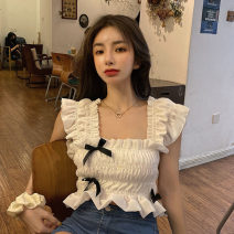 Lace / Chiffon Summer 2021 White, black Average size Sleeveless Versatile Socket singleton  Self cultivation have cash less than that is registered in the accounts square neck Solid color routine 18-24 years old Other / other ysg6537 bow 30% and below