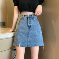 skirt Summer 2021 S,M,L,XL blue Short skirt Versatile High waist A-line skirt Solid color Type A 18-24 years old ZXJ5247 30% and below other Other / other other