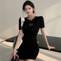 Dress Summer 2021 black Average size Short skirt singleton  Short sleeve commute Crew neck High waist Solid color Socket One pace skirt routine Others 18-24 years old Type A Other / other Korean version zipper ZXJ6374 30% and below knitting other