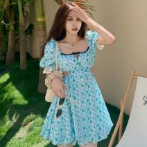 Dress Summer 2021 Fresh green S,M,L Short skirt singleton  Short sleeve square neck High waist Decor Socket other other Others 18-24 years old Type A Other / other Hollowing out ZXJ6336 30% and below other other