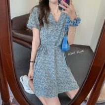 Dress Summer 2021 Blue, pink Average size Short skirt singleton  Short sleeve commute V-neck High waist Socket routine Others 18-24 years old Other / other Korean version lym14751 31% (inclusive) - 50% (inclusive) Chiffon