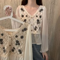 Lace / Chiffon Summer 2021 Apricot, white Average size Long sleeves commute Socket singleton  have cash less than that is registered in the accounts 18-24 years old Other / other lym12418 Korean version 30% and below