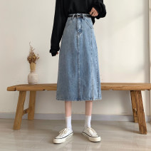 skirt Summer 2021 S,M,L,XL blue Mid length dress commute High waist A-line skirt Type A 18-24 years old lym15206 30% and below Other / other pocket Korean version