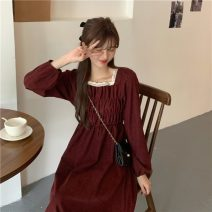 Dress Spring 2021 Apricot, red, black Average size Mid length dress singleton  Long sleeves commute square neck High waist Socket 18-24 years old Other / other Korean version lym11402